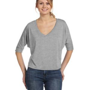 Ladies' Flowy Boxy Half-Sleeve V-Neck T-Shirt Thumbnail