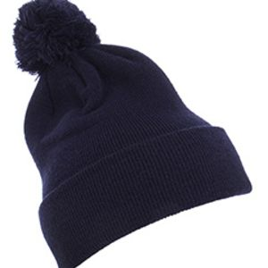 Cuffed Knit Beanie with Pom Pom Hat Thumbnail