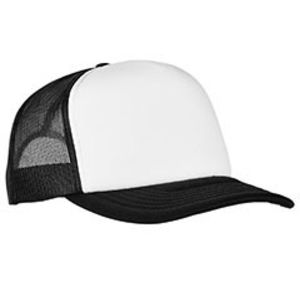 Adult Classics Curved Visor Foam Trucker Cap - White Front Panel Thumbnail