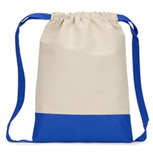 Heaveweight Cotton Canvas Drawstring Backpack with Contrasting Bottom Thumbnail